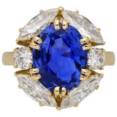 Vintage Ceylon Sapphire and Diamond Cluster Ring, circa 1970