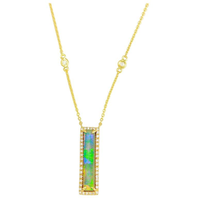 Frederic Sage 2.60 Carat Australian Opal Diamond Pendant Chain Necklace For Sale