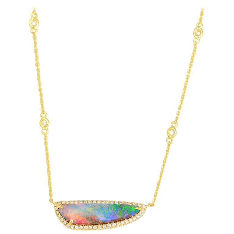 Frederic Sage 3.14 C Australian Black Opal Diamond Pendant Chain Drop Necklace For Sale