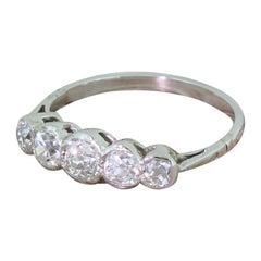 Art Deco 0.73 Carat Old Cut Diamond Five-Stone Ring