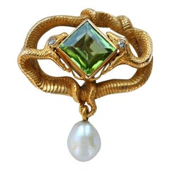 Karl Rothmüller Diamond Peridot Gold Eternal Entwined Serpent Brooch