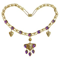 Amethyst Yellow Gold Grapevine John Paul Cooper Arts & Crafts Necklace