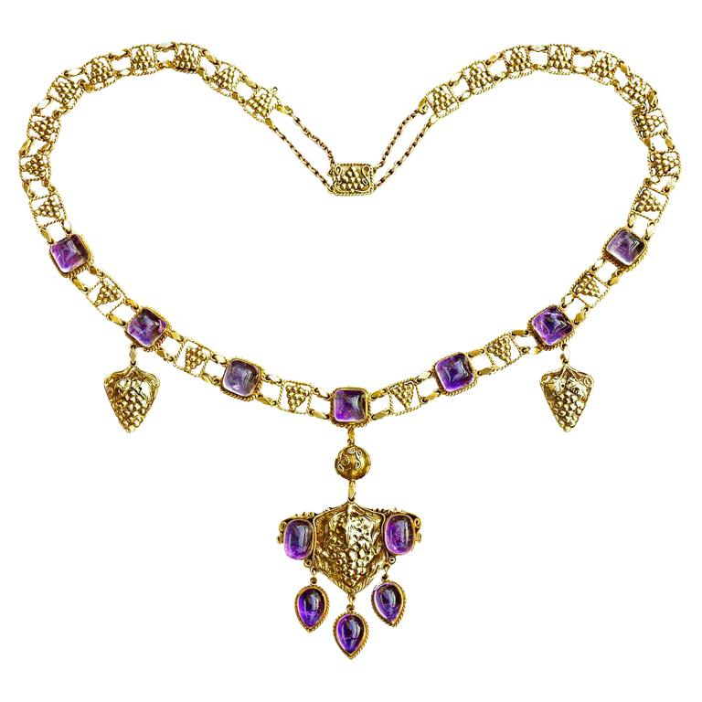 Amethyst Yellow Gold Grapevine John Paul Cooper Arts & Crafts Necklace For Sale
