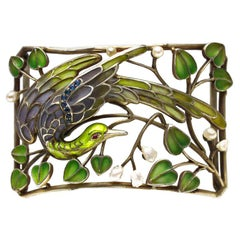 Art Nouveau Enamel Pearl Plaque de Cou Bird Levinger and Bissinger Necklace