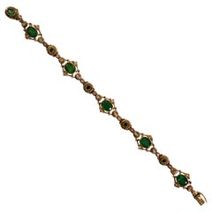 Renaissance 5.70 Carat Emerald 0.50 Carat White Diamond Yellow Gold Bracelet