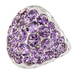 Amethyst Diamond 18 Karat Gold Dome Cocktail Ring