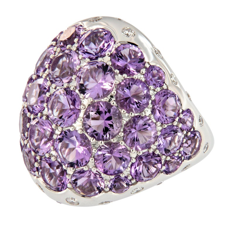 Amethyst Diamond 18 Karat Gold Dome Cocktail Ring For Sale