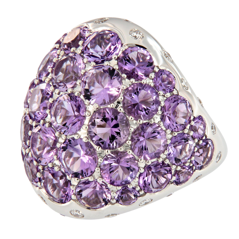 Amethyst Diamond 18 Karat Gold Dome Cocktail Ring