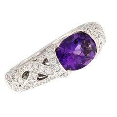 Amethyst Diamond 18 Karat White Gold Ring
