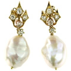 South Sea Pearls Diamond Gold Earrings