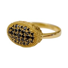 Ornate Floral Black Diamond Yellow Gold Ring
