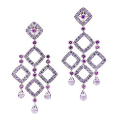 Amethyst Sapphire Diamond 18 Karat Gold Chandelier Earrings