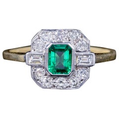 Emerald Diamond, 18 Carat Gold Engagement Ring