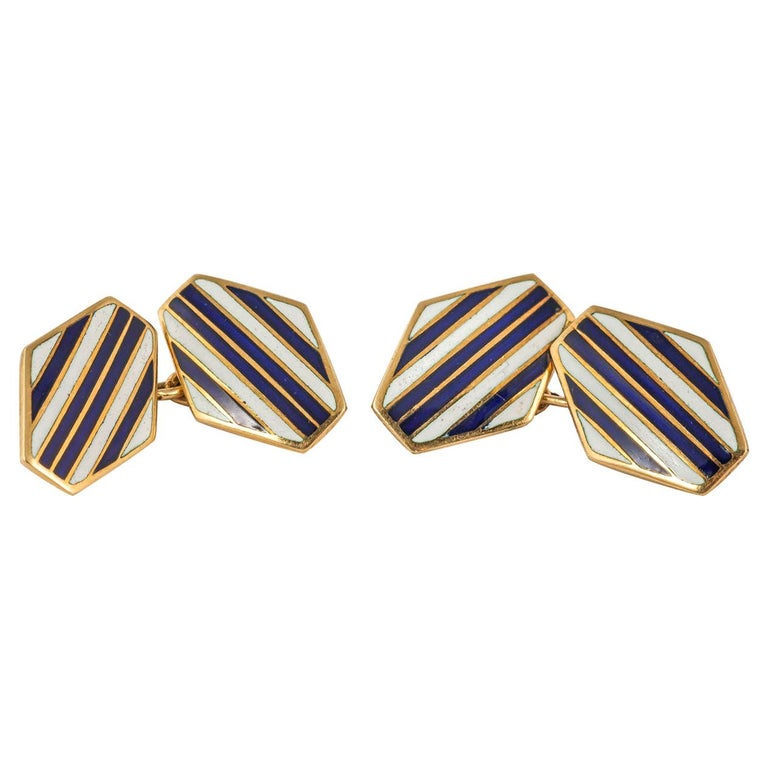 Art Deco Navy and White Enamel 18 Karat Gold Cufflinks For Sale