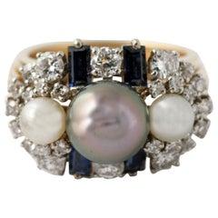 18 Karat Yellow Gold Diamond Sapphire Pearl Gem Set Cocktail Ring