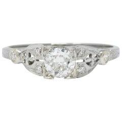 Art Deco 0.50 Carat Diamond 18 Karat White Gold Engagement Ring