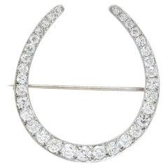 1930er Jahre Art Deco 5,15 Karat Großer Diamant Platin Hufeisen Brosche