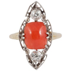 Art Deco Coral Platinum Diamond 18 Karat Gold Ring