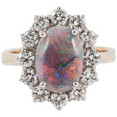 Black Opal White Diamond Cluster Engagement 18 Karat Gold Ring