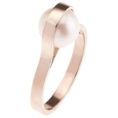 Nathalie Jean Contemporary Pearl 18 Karat Rose Gold Ring