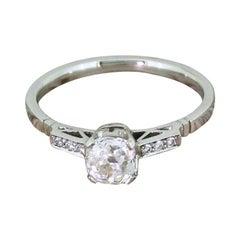 Art Deco 0.68 Carat Old Cut Diamond Platinum Engagement Ring