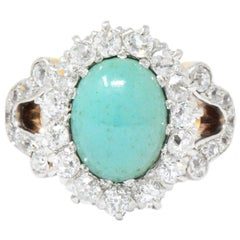 Edwardian 1.26 Carat Diamond Turquoise Platinum-Topped 14 Karat Gold Ring