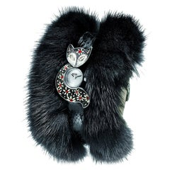 Sicis Flower Fox Black Diamond Micromosaic Fur Wristwatch