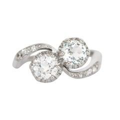 .55 Carat Diamond and .45 Carat Aquamarine Platinum Engagement Ring