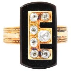 Victorian 0.45 Carat Diamond Onyx 14 Karat Rose Gold Mourning Ring