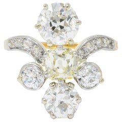 Edwardian 3.95 Carat Diamond Yellow Diamond Platinum-Topped 18 Karat Gold Ring