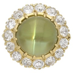 Antique Cat's Eye Chrysoberyl and Diamond Coronet Cluster Ring, circa 1900
