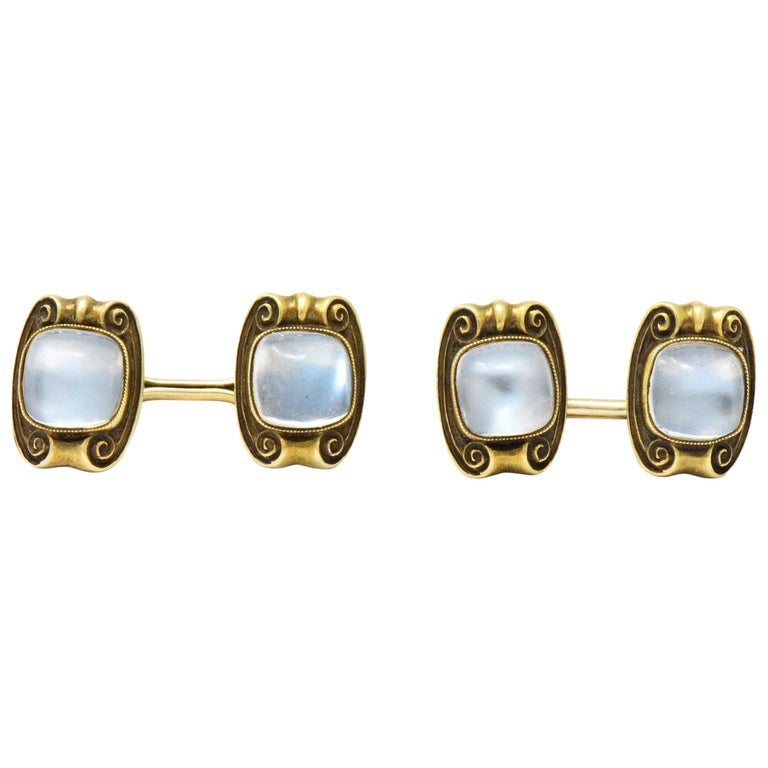 Art Nouveau Moonstone 14 Karat Gold Cufflinks For Sale
