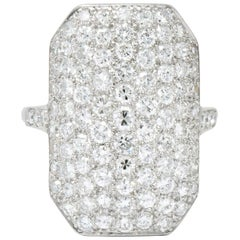 Retro 3.74 Carat Diamond Platinum Ring