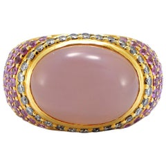 Solid 18 Karat Gold Genuine Rose Quartz, Diamond and Pink Sapphire Ring 12.8g