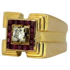 Vintage 18 Karat Gold Unisex Ring with Diamond and Amethysts
