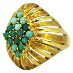 Vintage 18 Karat Gold Ladies Ring with Natural Turquoise, 1950s
