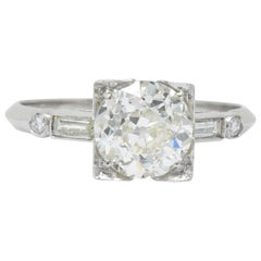 Retro 2.34 Carats Old European Diamond Platinum Engagement Ring GIA