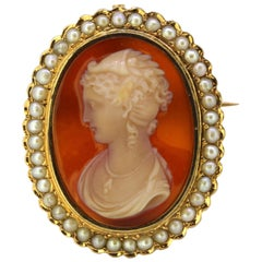 Antique French Carnelian Cameo Brooch / Pendant with Freshwater Pearls