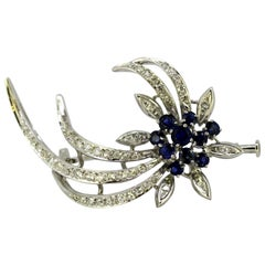 Art Deco 18 Karat White Gold Brooch with Blue Sapphires and Diamonds