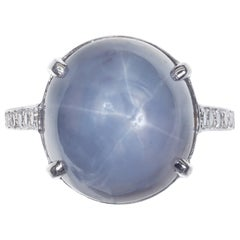 GIA Certified 19.00 Carat Star Sapphire Diamond Platinum Ring