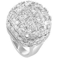 Harry Winston Round and Baguette Diamonds White Gold Dome Ring