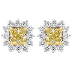 Radiant Cut Yellow Diamond Halo Stud Earrings