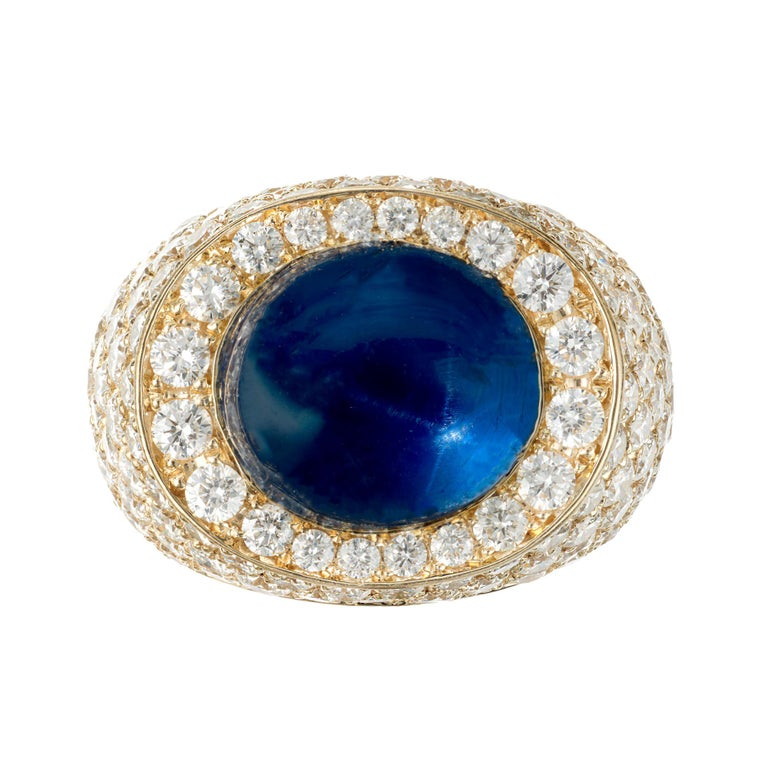 David Webb 14.4 Carat Star Sapphire Diamond Dome Cocktail Yellow Gold Ring For Sale