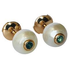 18K Rose Gold, Pearls and Tourmalines pair of Stud Earrings by Frédérique Berman