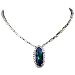 Vintage 18 Karat White Gold Ladies Necklace with Natural Black Opal and Diamonds