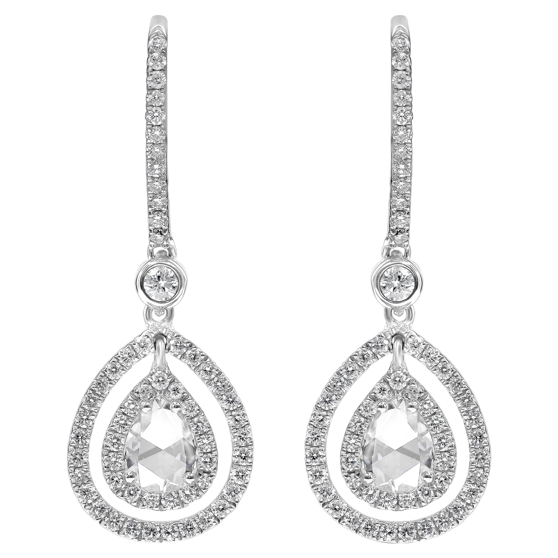 Roman Malakov, Pear Shaped Rose Cut Diamond Double Halo Dangle Earrings