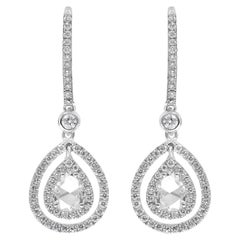 Pear Shaped Rose Cut Diamond Double Halo Dangle Earrings