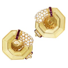 Chaumet Ruby Diamond Gold Clip-On Earrings