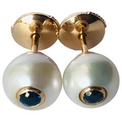 18K Rose Gold, Pearls and Sapphires Pair of Stud Earrings by Frederique Berman