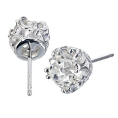 Peter Suchy GIA Certified 1.80 Carat Platinum Stud Earrings